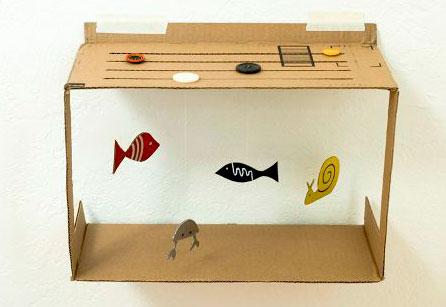 аквариум поделка из картонной коробки