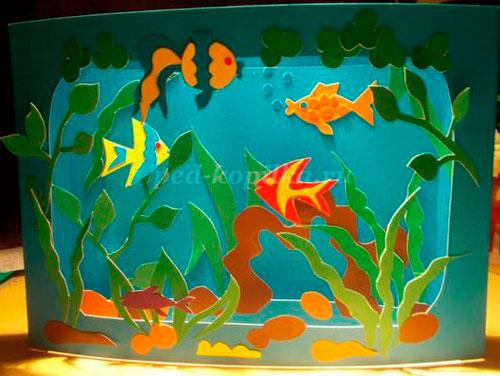 поделка аквариум из бумаги