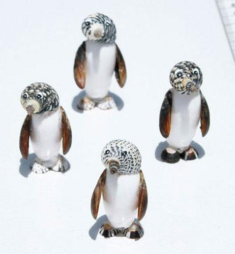 пингвины из ракушек