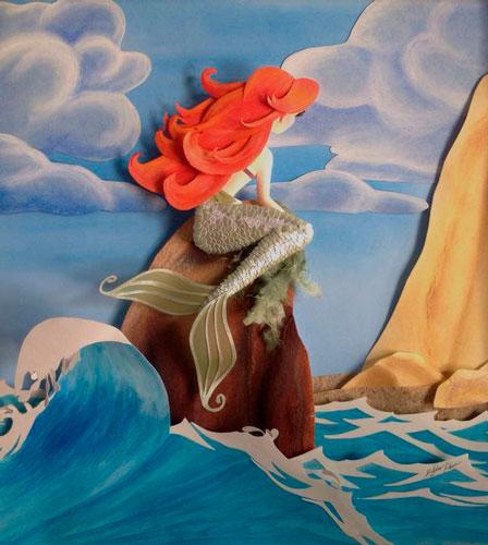 морская картина из бумаги для детей