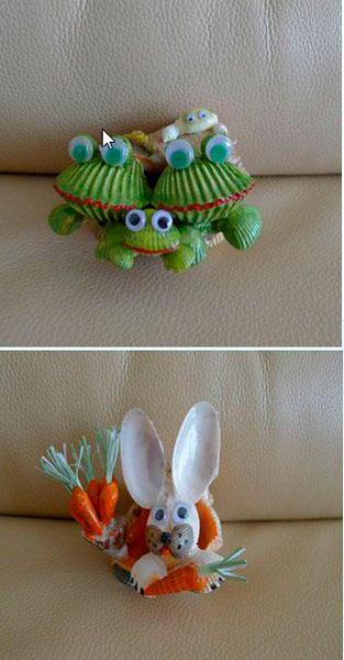 забавные поделки из ракушек для детей