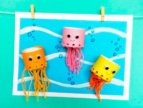 осьминоги из бумаги и шнурков