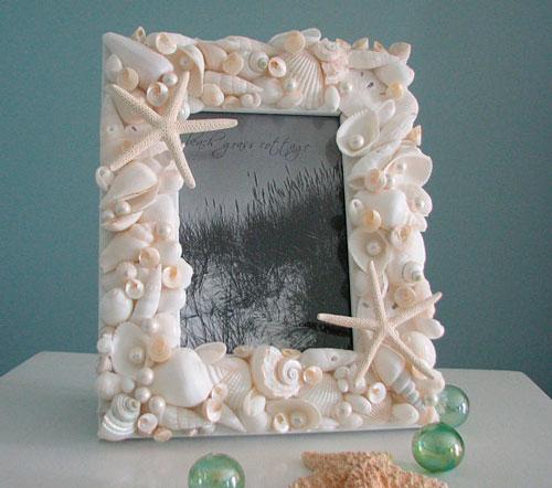 Рамка для фото из ракушек для детей
