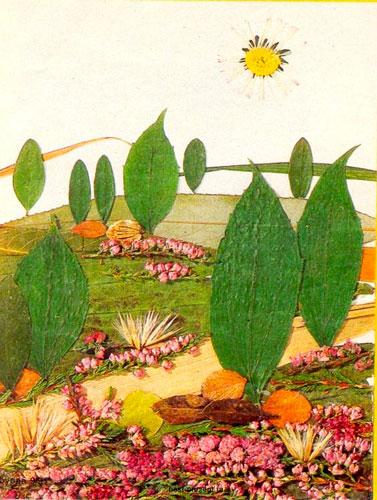 аппликация из листьев на тему осень