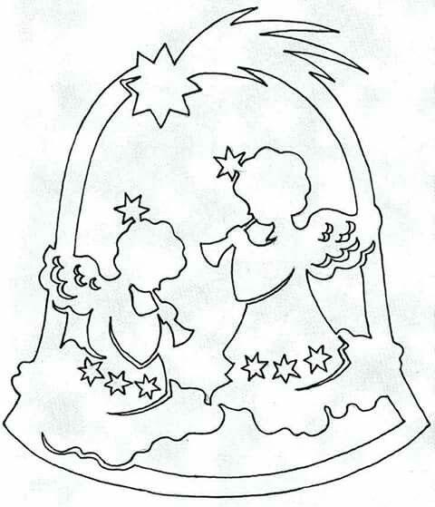 ангелы - рождественский трафарет для украшения окон