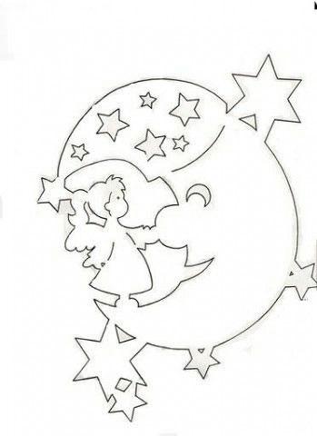 луна и звезды трафарет на окна