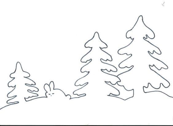 новогодний лес - трафарет для окон