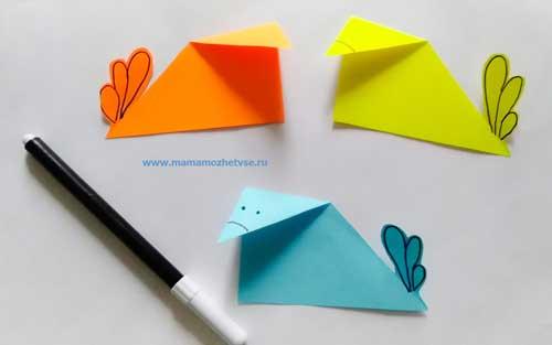 """Аппликация """"Птички"""" из бумаги для детей 4-6 лет"""