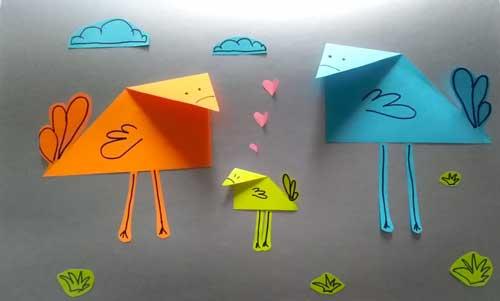 """Аппликация из бумаги """"Птички"""" для детей 3-5 лет"""