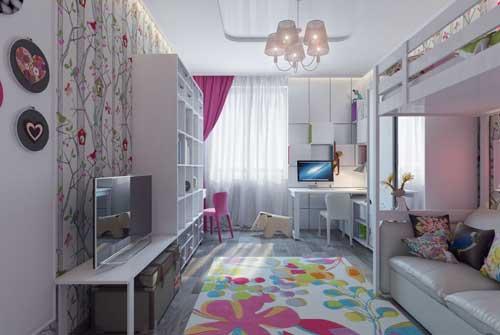 нежные цвета в детской комнате для двух девочек 6