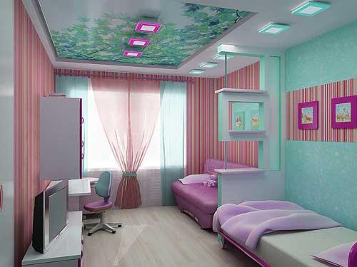 нежные цвета в детской комнате для двух девочки