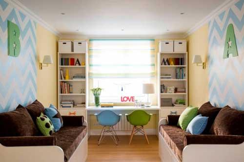 Планировка детской комнаты для двоих детей: рабочее место 2
