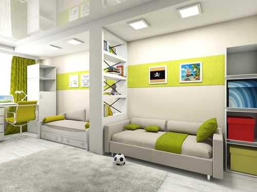 планировка и зонирование комнаты для детей