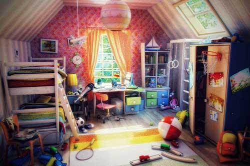 планирование расстановки мебели в детской для двух ребят 2