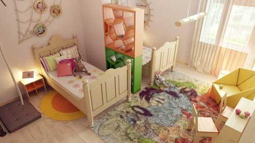 Планировка и зонирование детской комнаты для двоих детей 4