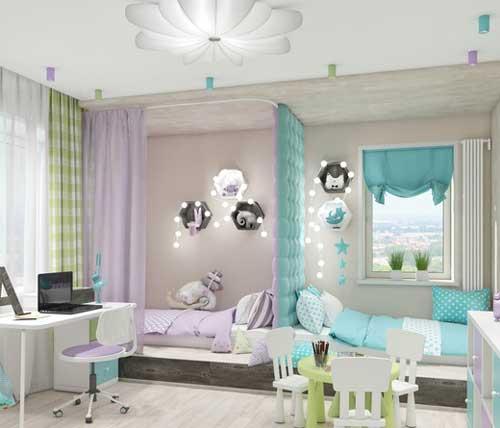 Планировка и зонирование детской комнаты для двоих детей 5