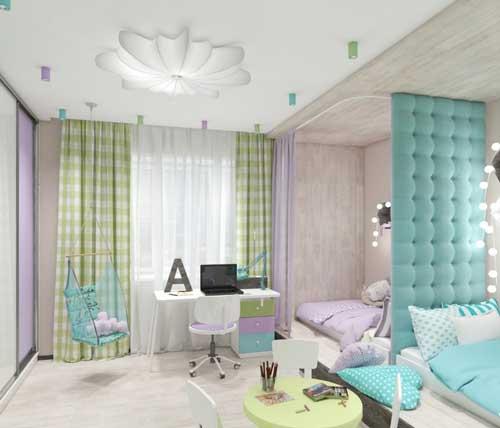 нежные цвета в детской комнате для двух девочек 3