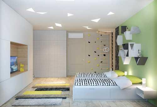 расположение кроватей в детской комнате для двоих детей 4