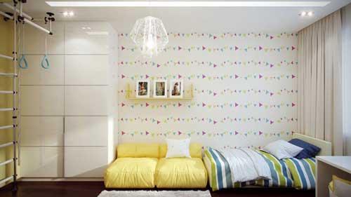 детская комната девочки с желтым диваном