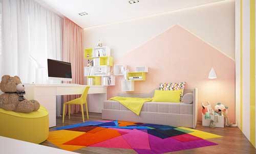 желтые цвета в детской комнате для девочек