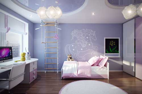 фиолетовый цвет в комнате девочки 2