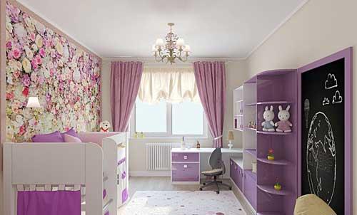фиолетовый цвет в комнате девочки