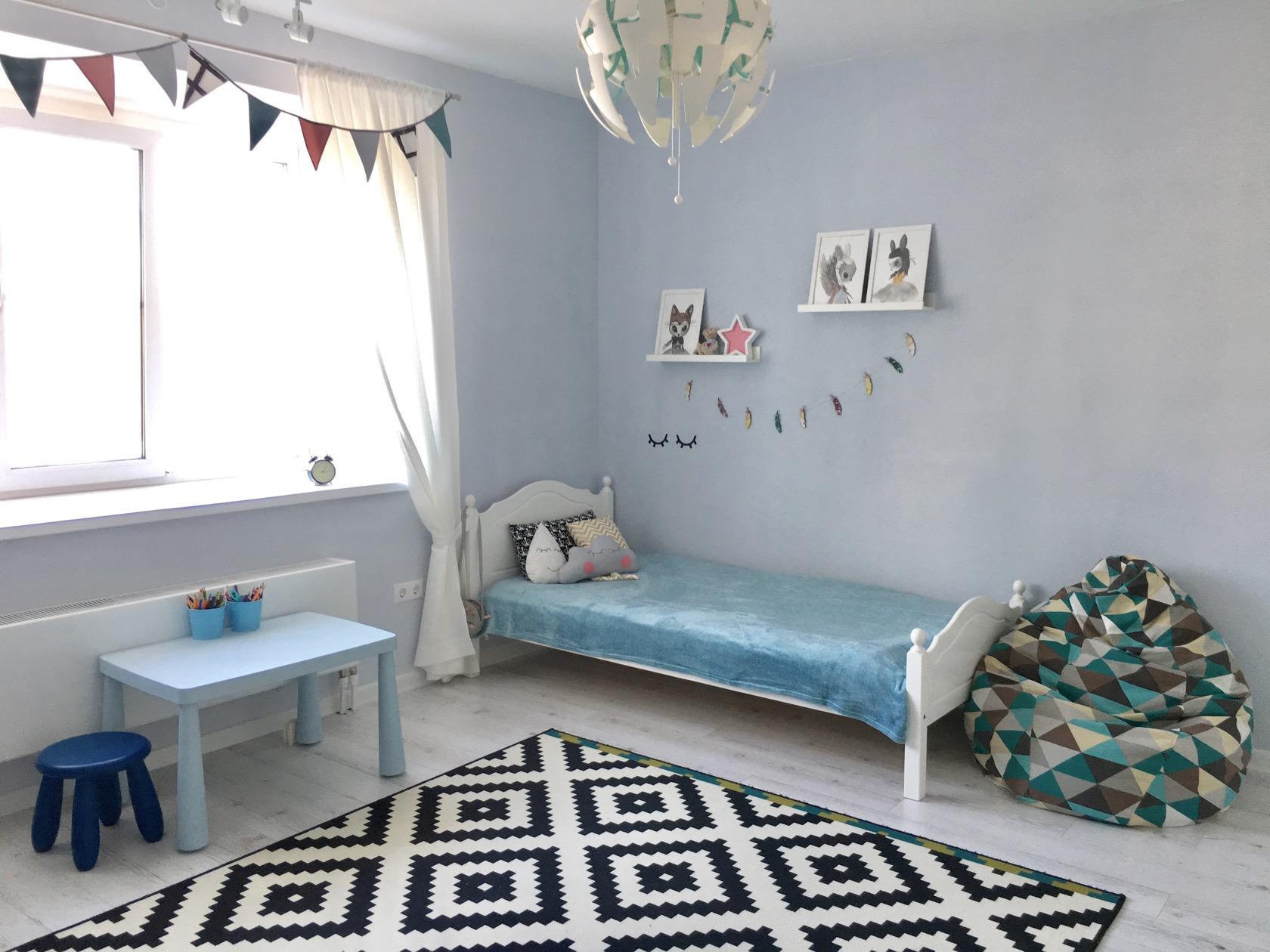 голубой цвет в детской комнате для девочки 4