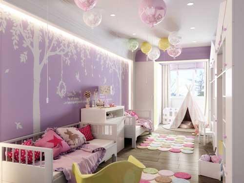 нежные цвета в детской комнате для двух девочек 2