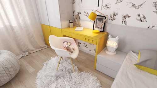 желтые цвета в детской комнате для девочек 4 лет