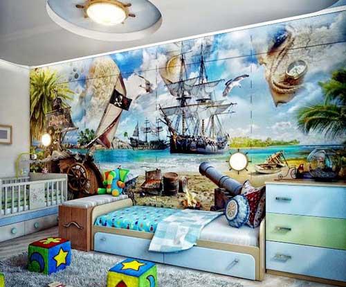 оформление стен в детской комнате для двоих детей фотообоями 4