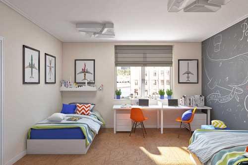 планирование расстановки мебели в детской для двух ребят
