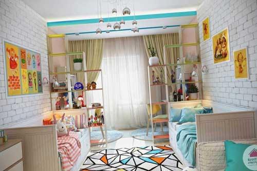 Планировка и зонирование детской комнаты для двоих детей 2