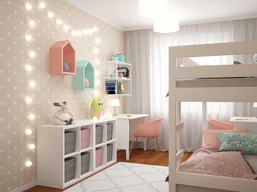 светлое оформление стен в детской 4