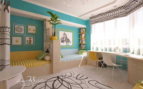 нежные цвета в детской комнате для двух девочек