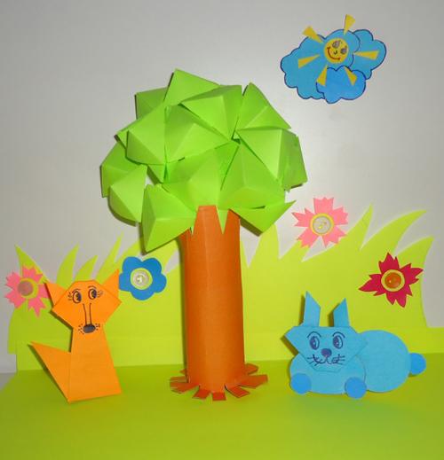 детская поделка дерево из цветной бумаги 8