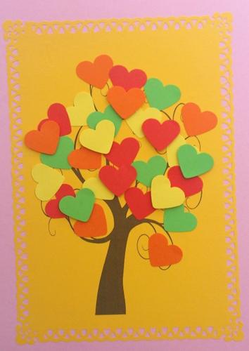 детская поделка дерево из цветной бумаги 9