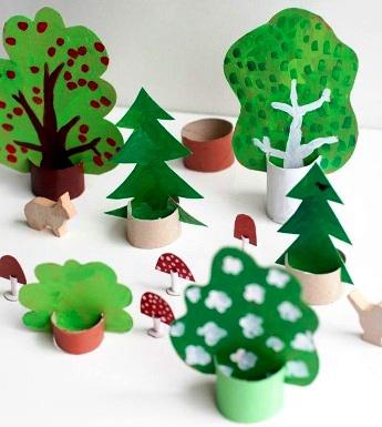 детская поделка дерево из цветной бумаги 2