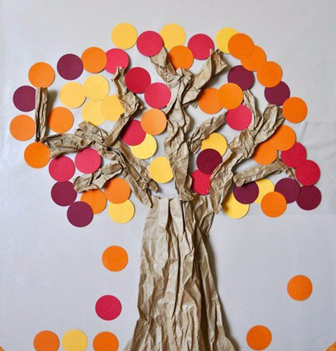 поделка дерево из цветной бумаги для малышей