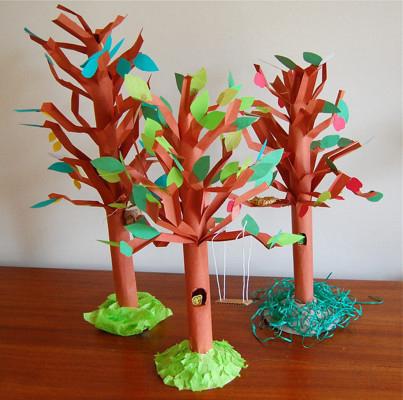 поделка дерево из цветной бумаги для детей 3