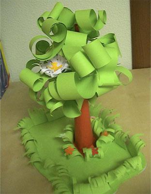 детская поделка дерево из цветной бумаги 10