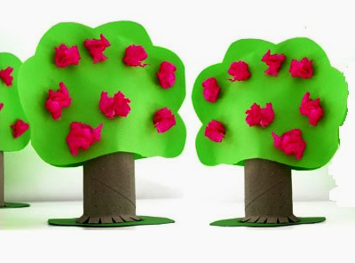 детская поделка дерево из цветной бумаги 4