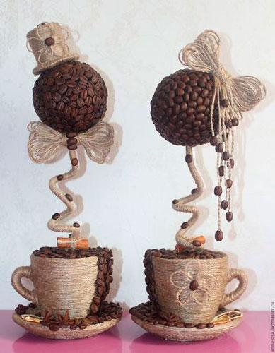топиарий - поделка из кофейных зерен