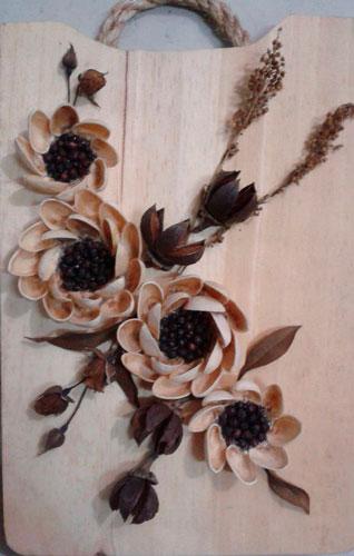 цветы из зерен кофе