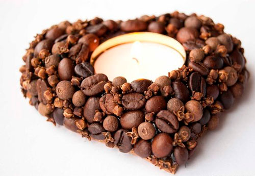 поделка подсвечник из зерен кофе