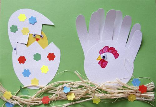 курочка и цыпленок - пасхальная поделка из бумаги для детей 4-5 лет