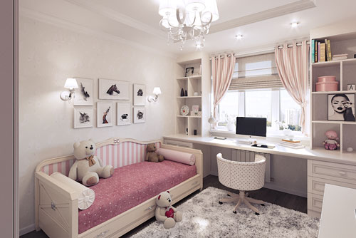 классическая детская комната для девочки в бело-розовом цвете со столом у окна