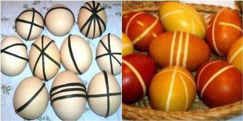 как красить яйца на Пасху луковой шелухой с рисунком 2