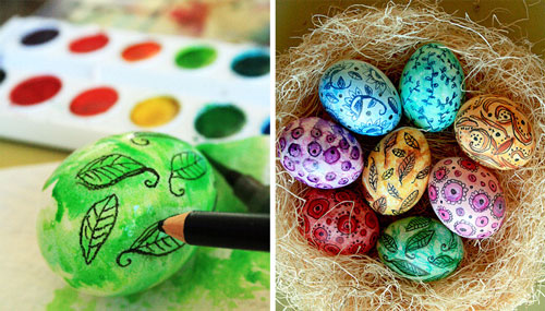 оригинальные идеи покраски яиц на Пасху: с помощью карандашей и мелков 2