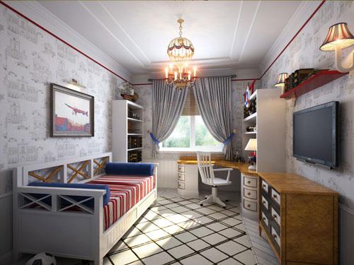 классическая детская комната для мальчика в стиле путешествий