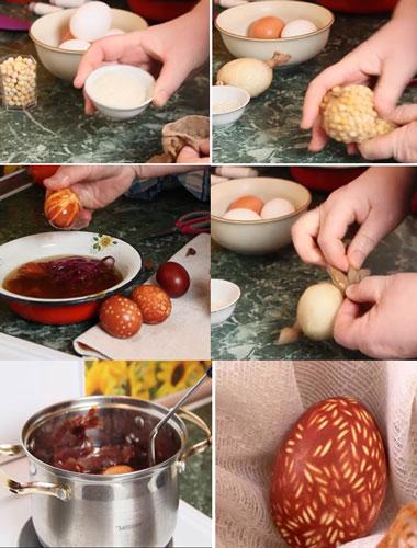 как красить яйца на Пасху луковой шелухой с рисунком
